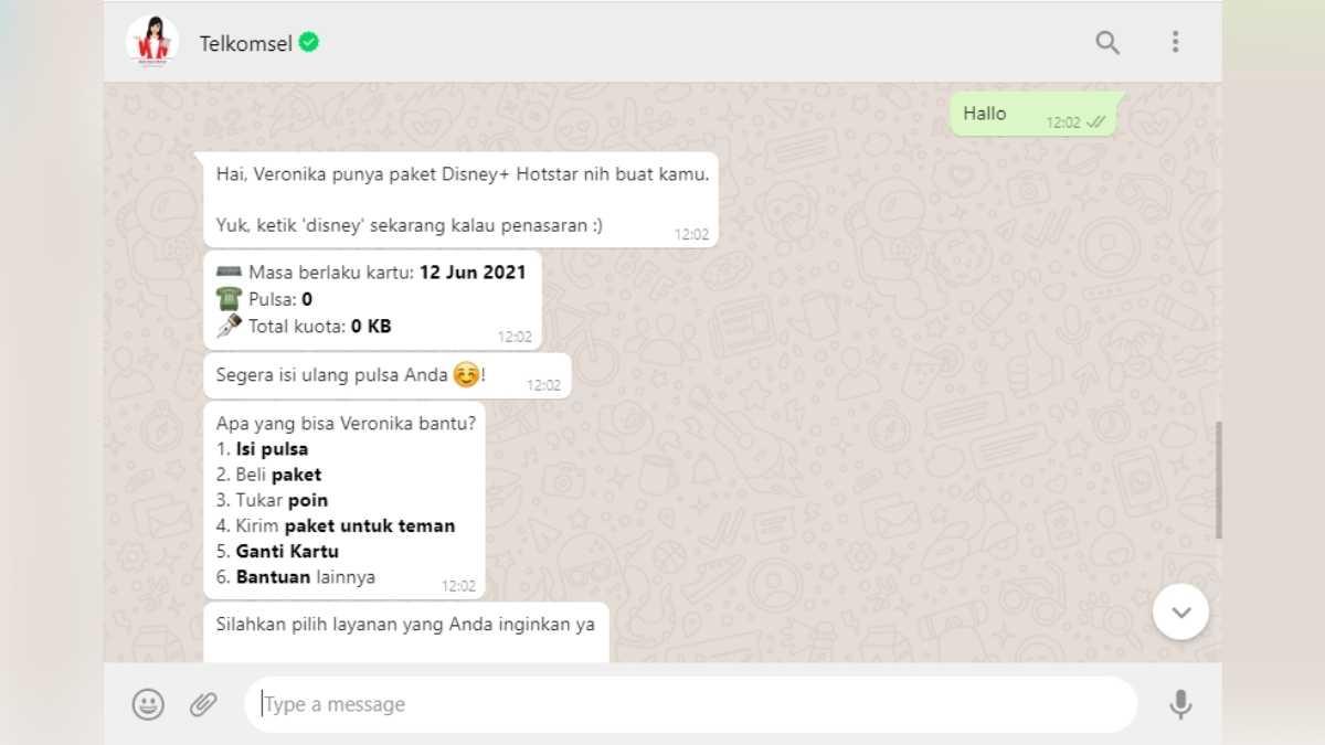 tanya veronika di whatsapp